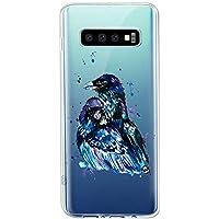 Oihxse Compatible con Samsung Galaxy A80/A90 Funda Suave Gel TPU Silicona Cristal Transparente Carcasa Acuarela Animal Pintado Patrón Protectora Estuche Bumper Caso Case (B9)