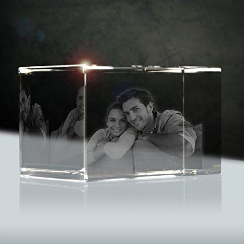 Kristallportait (3D) | Quader 80mm | 1 bis 2 Personen oder Tiere zB als Geschenk zum Jahrestag