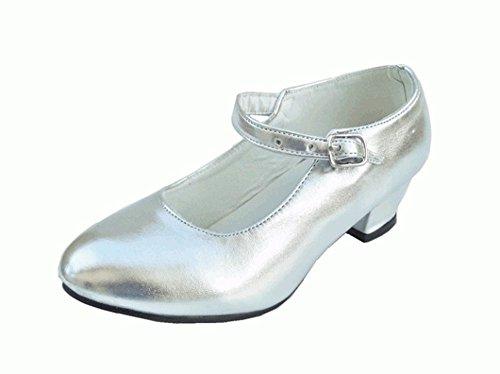 Schuhe Pumps Ballerina-Tanz Flamenco Gold oder Silber, Silber - Größe: 27
