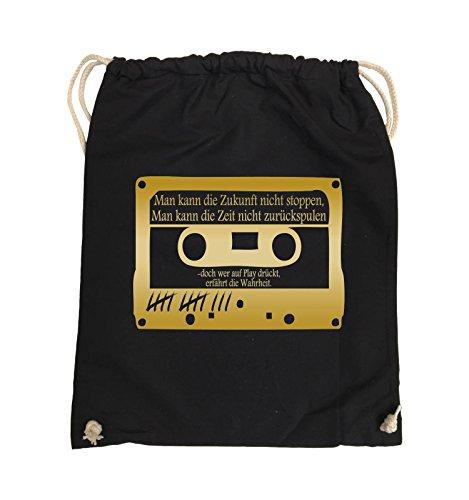 Comedy Bags - TOTE MÄDCHEN LÜGEN NICHT - KASSETTE - Turnbeutel - 37x46cm - Farbe: Schwarz / Pink Schwarz / Gold