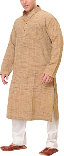 Exotic Men's India Pure Khadi Cotton Kurta Pyjama (SPD44-42-tanTan_42)