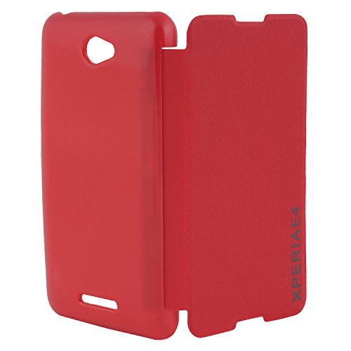 DMG Premium Diary Flip Book Cover Case for Sony Xperia E4 (Red)  available at amazon for Rs.199