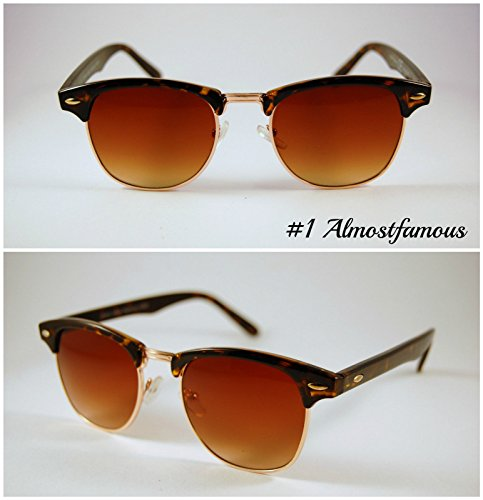 Pretty Smart Glasses Schildkröte Shell Classic Retro 1980's Vintage Schwarz/Schildpatt Gold Rand Clubmaster Sonnenbrille