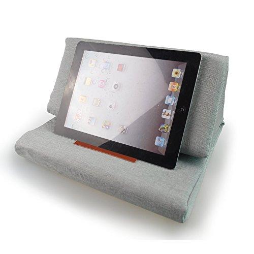 Hand Made iPad Ständer Halter Plaid Buchkissen Tablet PC Kissen Hell Grau