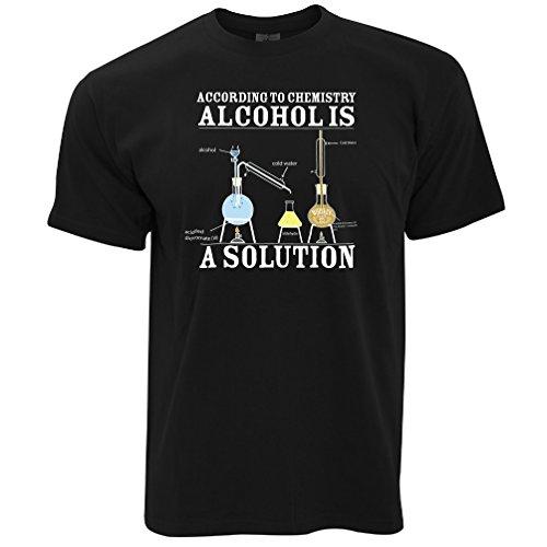Tim And Ted Alkohol ist eine Lösung, Lustig Bedruckte Slogan Kunst Geeky Nerd- Herren T-Shirt (Slogan Lustige T-shirt Bedruckt)