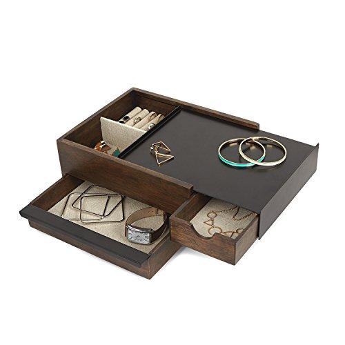 Umbra Stowit Design Schmuckkasten – moderne Schmuck Box mit Geheimfächern für Ringe, Armbänder, Uhren, Halsketten, Ohrringe und Accessoires, Holz/Metall, - Holz-uhr-schmuck-box