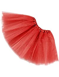 SODIAL(R)Women/Adult Organza Dance wear Tutu Ballet Pettiskirt Princess Party Skirt Red