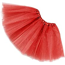 SODIAL(R)Mujer / adulta Ropa de danza de organdi Tutu Falda de ballet Falda de fiesta de princesa Rojo