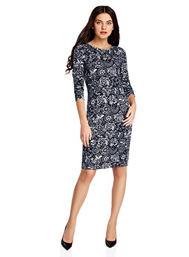 oodji Collection Women's Jersey Dress with Keyhole Back