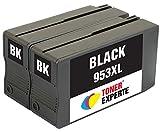 TONER EXPERTE 2 XL Schwarz Druckerpatronen Ersatz für HP 953XL L0S70AE kompatibel für HP OfficeJet Pro 8710 8720 8725 7740 8715 8725 8210 7720 8718 8728 8730 8740 7730 | hohe Kapazität (2000 Seiten)