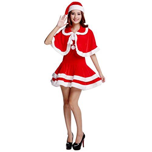 Kostüm Weihnachten Kostüm Weihnachtsmann Rot Weihnachtsmütze Weihnachtskleider Weihnachtsfrau (Damen Weihnachtsmann-kostüm)