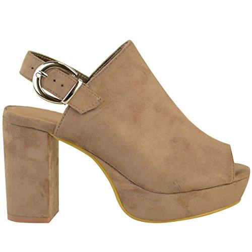 Sandales à bout ouvert - talon haut épais - boucle à l'arrière - soirée - femme Faux suède marron moka / compensé