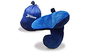 J-Pillow Cuscino da Viaggio – Supporto Testa, Mento & Collo - British Invention of the Year 2013 - (Blu Scuro)
