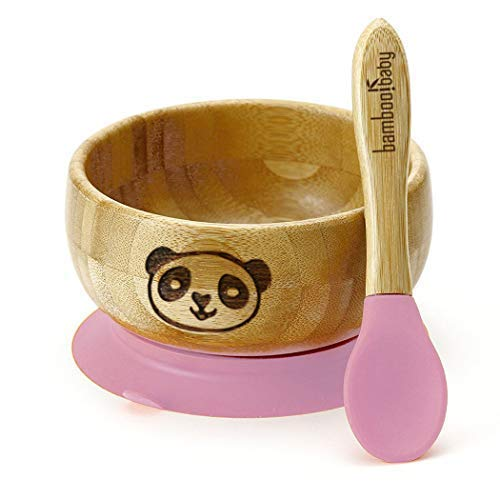 Kindergeschirr Set aus Bambus mit Saugnapf Schale und Löffel - Als Geschenk fürs Baby zum Essen Lernen