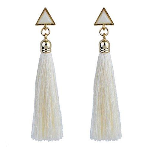 VJGOAL Damen Ohrringe, 1 Paar Frau Geschenk Valentinstag Frauen Mädchen Böhmischen Ethnischen Hängenden Seil Quaste Party Strand Ohrringe (Weiß)