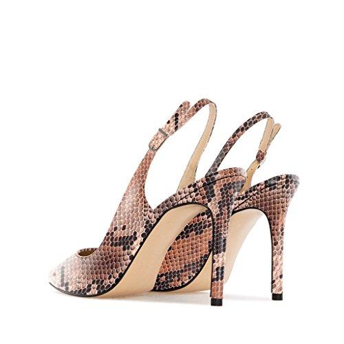 EDEFS Femme Escarpins Bouts Pointus Classiques Chaussures à Brides à Boucle à l'arrière Python-brown