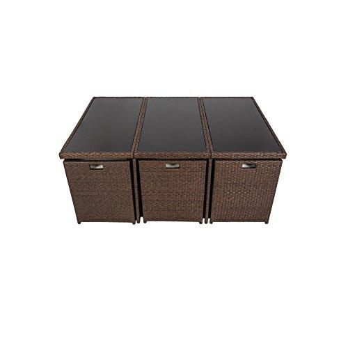 Tectake set di mobili da giardino poli rattan alluminio - Arredamento da giardino in rattan ...