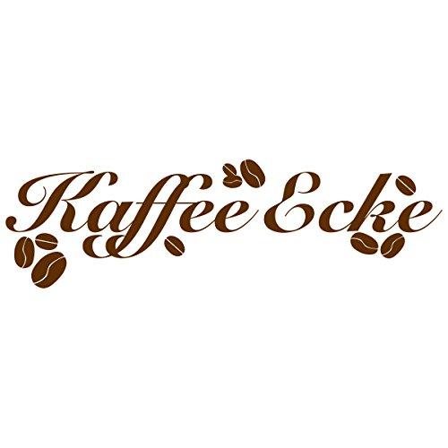 WANDKINGS Wandtattoo - Kaffee Ecke mit Kaffeebohnen - 85 x 26 cm - Braun - Wähle aus 5 Größen &...