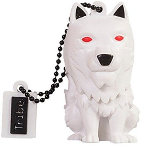 Tribe game of thrones (il trono di spade) direwolf chiavetta usb da 16 gb pendrive memoria usb flash drive 2.0 memory stick, idee regalo originali, figurine 3d, archiviazione dati usb gadget in pvc con portachiavi - bianco