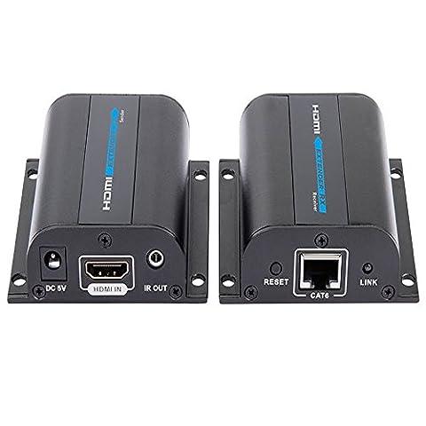 HDMI Extender, Kingcenton® Extender HDMI avec 2 Sorties Splitter HDMI 1080P Distance 60m Loop Boucle via Câble RJ45 CAT6 6a 7 HDMI Répéteur IR Compatible avec Box Sky HD PC portable DVD PS4 Freebox Vidéo-projecteur