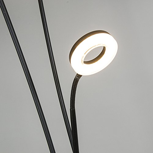 QAZQA Modern Stehleuchte / Stehlampe / Standleuchte / Lampe / Leuchte Divine schwarz Dimmer / Dimmbar / Innenbeleuchtung / Wohnzimmer / Schlafzimmer / Deckenfluter Metall Rund / Länglich / inklusive L - 7
