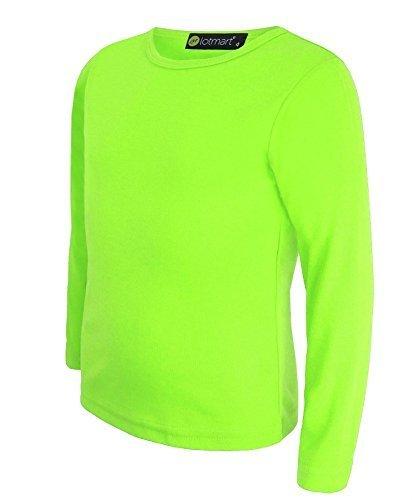 Kinder Uni Einfach Top Langärmelig Mädchen Jungen T-Shirt Oberteile Crew Uniform T-Shirt - Neongelb, Damen, 98-104