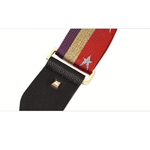 Umily 5cm Damen Star Schulterriemen für Taschen 85- 125cm pu Leder Schultergurt Trageriemen Riemen Umhängegurt für Umhängetaschen Schwarz + Gold
