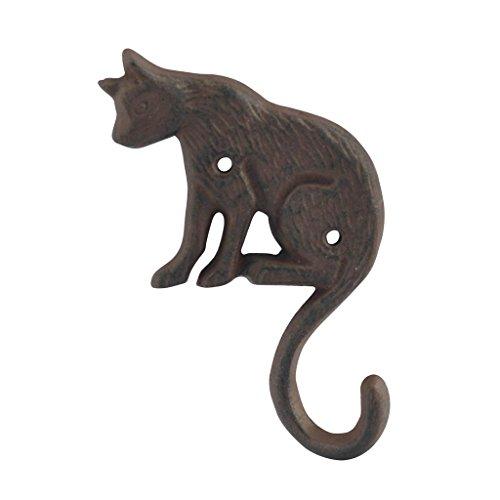 Petite Patère Chats en fer forgé, H 17 cm