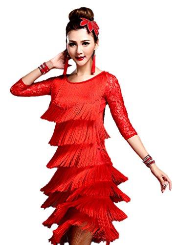 eiten Damen Vielschichtig Quasten Swing Rhythmus Jazz Latein Dance Kleid Rot M (Tanzabend Ballett Kostüme)