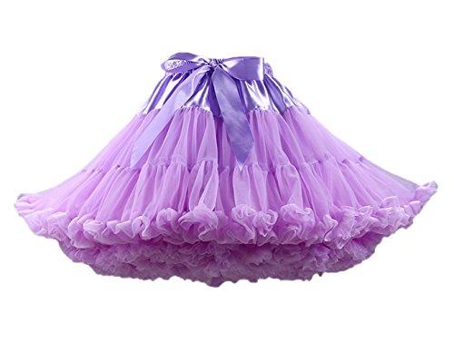 Ballettrock Kinder Mädchen Damen Tutu Rock Schleife Pettiskirt für Show Party Cosplay Violett One Size ()