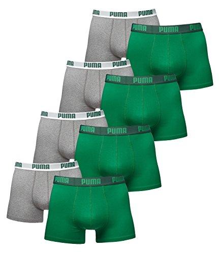 PUMA Herren BASIC Boxer Boxershort Unterhose 8er Pack in vielen Farben (amazon green/grey (075), M) (Boxer-jeans Für Männer)