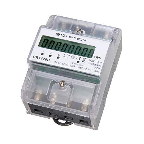 B+G E-Tech DRT428D - digitaler Stromzähler Drehstromzähler Wattmeter für DIN Hutschiene, Energiemessgerät direktmessend 3x230/400V 20(80) A