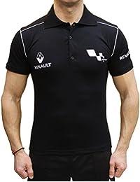 OTO-MOTO Renault Sport Polo Camiseta Logotipo del Bordado Embroided Collar Negro algodón