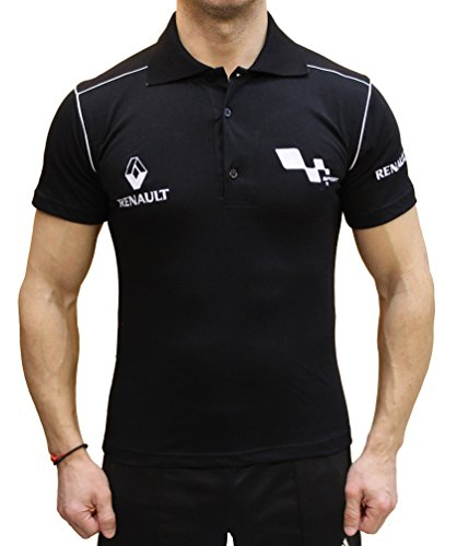 Renault Polo Camiseta Logotipo del Bordado Embroided Collar Negro algodón (M)