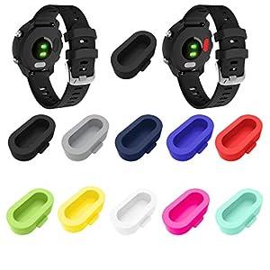 10 PC Watch Port Protector Resistant Anti Staub Stecker Für Garmin Forerunner 245/945, Weiche Silikon Sport Armband,Nourich Uhrenarmband Sport Strap Armbänder Fitness SmartWatch