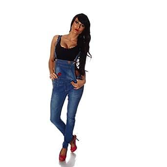 10696 Fashion4Young Damen Latzhose Hose pants mit Träger Röhren Jeans Overall Jeanshose Trägerhose (S=36, Blau)