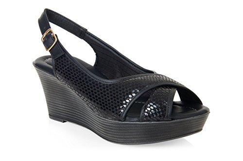 Piccadilly 164006confortable et rembourré Wedge Sandal Noir - Black Snake