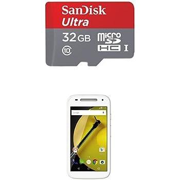 Pack Motorola Moto E 4G Smartphone débloqué 4G (8 Go - Ecran : 4,5 pouces - Simple SIM - Android) Blanc + Carte microSD SanDisk 32 Go compatible