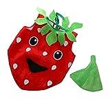 MagiDeal Erdbeerkostüm rot-schwarz für Kinder | Einteiler Obst Kostüm mit Hut | Frucht Kostüm Faschingskostüm | Erdbeer Verkleidung