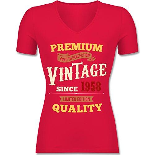 Shirtracer Geburtstag - 60. Geburtstag Vintage 1958 - Tailliertes T-Shirt mit V-Ausschnitt für Frauen Rot