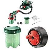 Bosch elektrisches Farbsprühsystem PFS 5000 E (für Lack/ Lasur/ Wandfarbe, im Karton) + Constant Feed Farbbehälter für Bosch PSF 3000-2, PFS 5000 E (1000 ml) + PFS Feinsprühdüse
