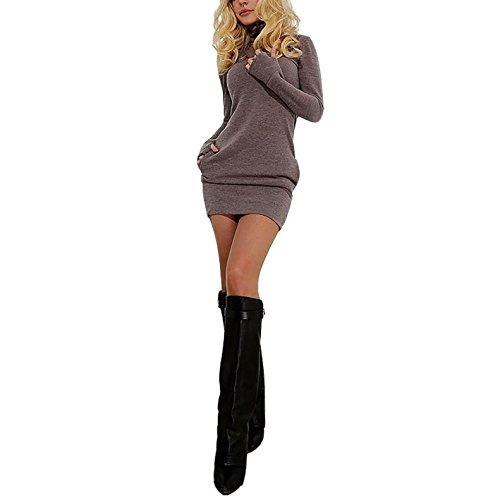 Damen Reizvoll Kleider Lange Ärmel A-Linie Package Hip Skirt Kleider Temperament HerbstWinter Blusenkleider Kleid MiniKleider Braun