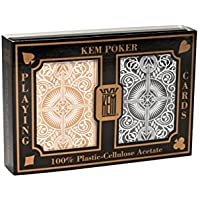KEM Wide Arrow Plastic-Cellulose Playing Cards (Black/ Gold)