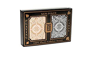 KEM Arrow Playing Cards: 2 Deck Set Black and Gold, Wide Index