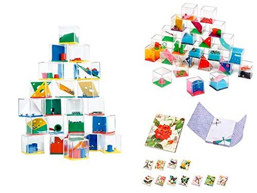 DISOK Lote 24 Juegos De Habilidad + 3 Bloc Notas Libreta Floral-...