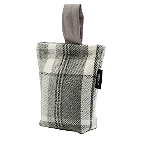 McAlister Textiles Heritage Fabric Door Stop | Charcoal Grey Tartan Check  Stripe Wool Textured Decorative Wedge