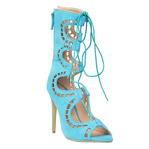 Kolnoo Damen Faschion High Heel Strappy schnüren sich oben Reißverschluss ausgeschnittenes ghillie Sandelholzschuhe Blue