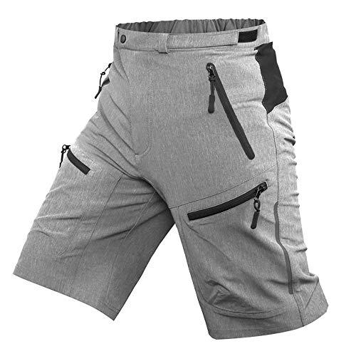 """ALLY MTB Hose Herren Radhose, Wasserabweisend Mountainbike Kurz, Outdoor Sport Fahrradhose Herren Shorts (Grau, XL(Taille:35\""""- 37\"""", Hüften:41\""""- 43\""""))"""