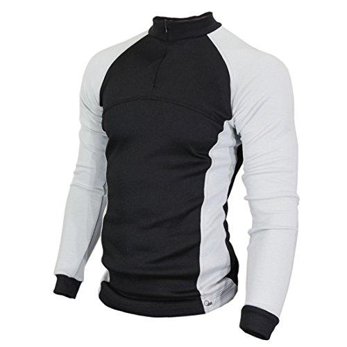 Raptor Hunting Solutions Merinowolle Thermal Unterwäsche Base Layer Langarm Kragen Reißverschluss Shirt Schwarz Grau Black-Grey (XL) -