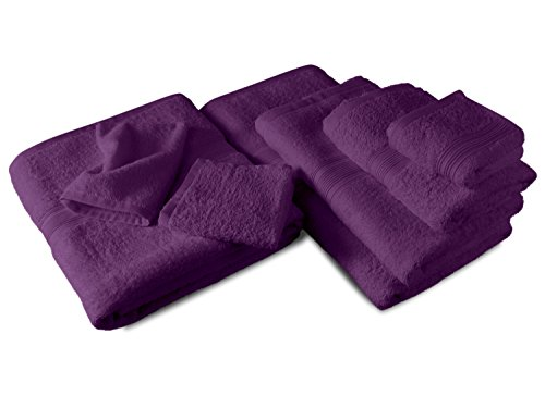 Packs zum Sparpreis - solide Frottiertücher - erhältlich in 18 modernen Farben und 8 verschiedenen Größen, 2er Pack Badvorleger (50 x 80 cm), lila
